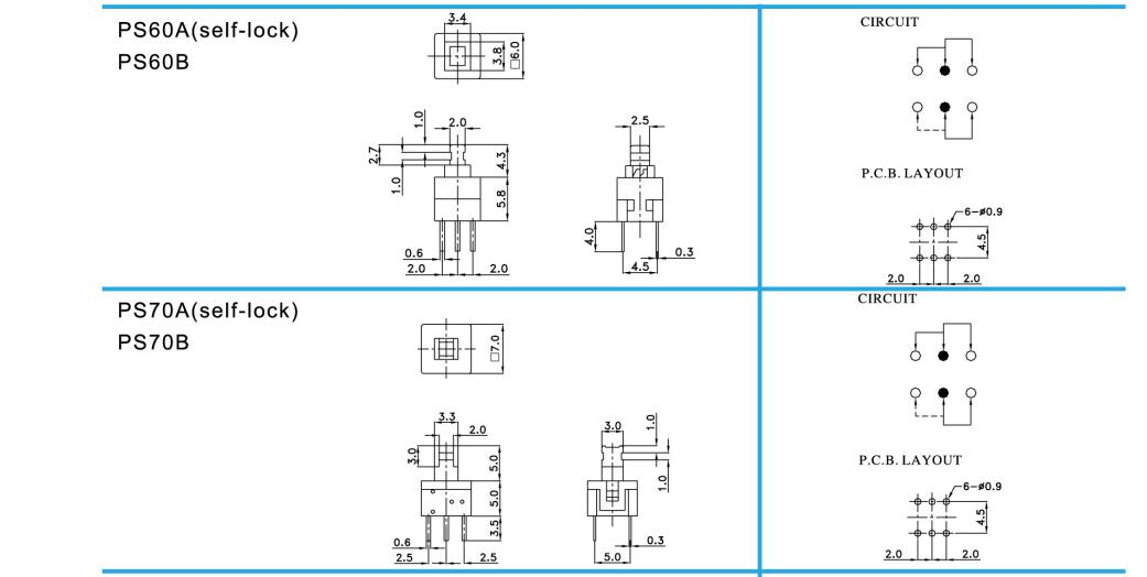 push-button switch_PS Series(5.8×5.8/7.0×7.0/ 8.0×8.0/8.5×8.5)