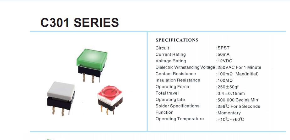 12x12 LED Tact Switch_C3012A SERIES
