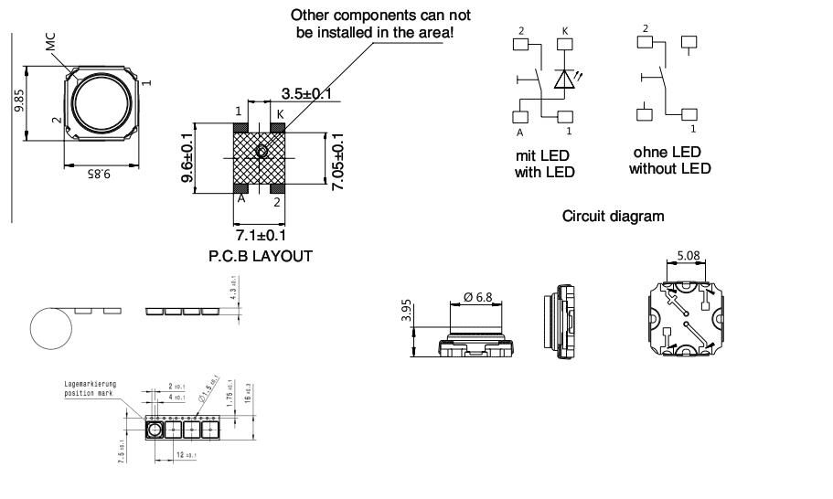 9.8x9.8 LED Tact Switch_C3001 SERIES