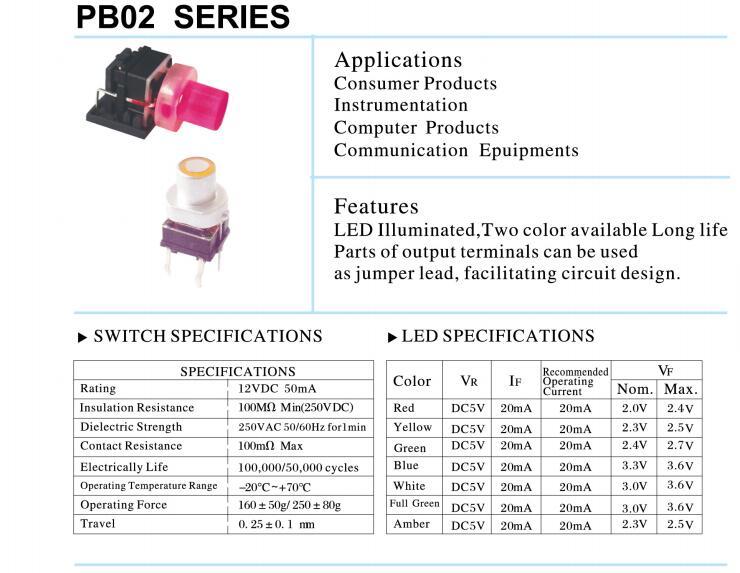 illuminated Tactile switch- PB02 Series