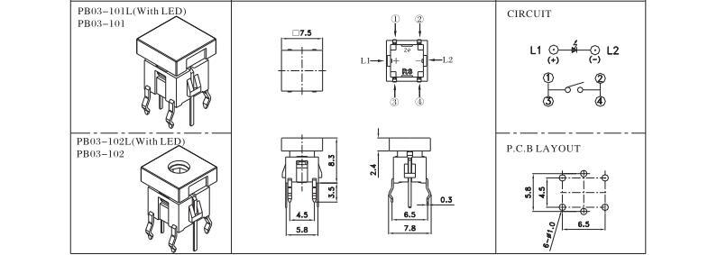 illuminated Tactile switch- PB03/TC03 Series