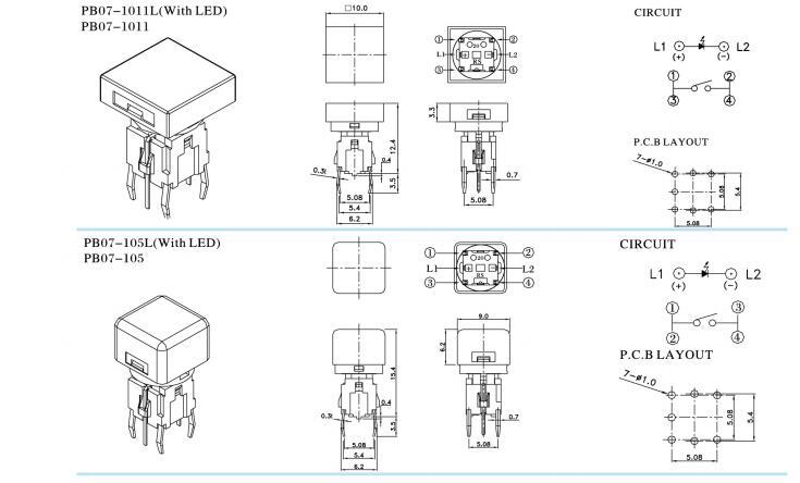 illuminated Tactile switch- PB07 Series