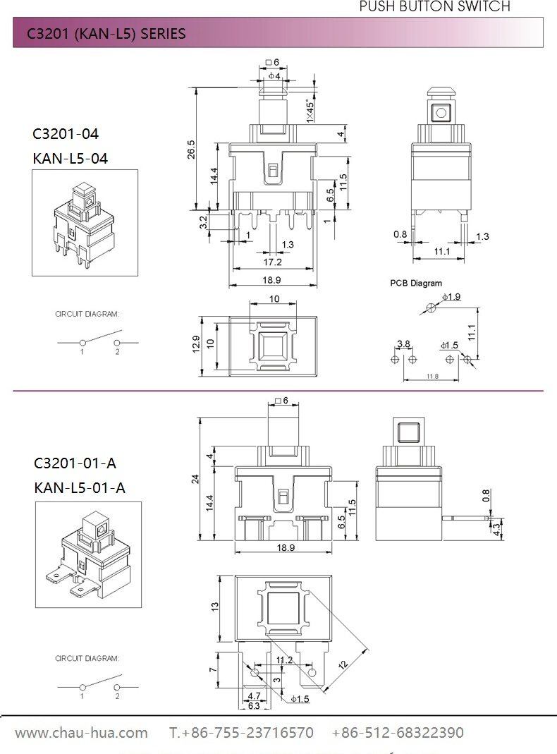 C3201 Series Push Button switch
